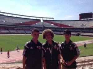 Members of NEXT GEN USA'S 01 Select squad on tour in Argentina, taking a break to visit the world famous River Plate club in Buenos Aires.